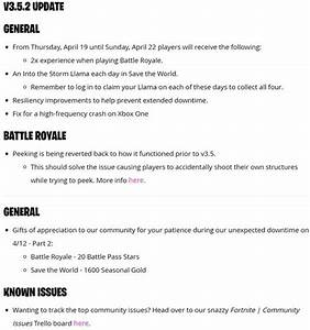 Fortnite 352 Update Patch Notes Released Here39s What