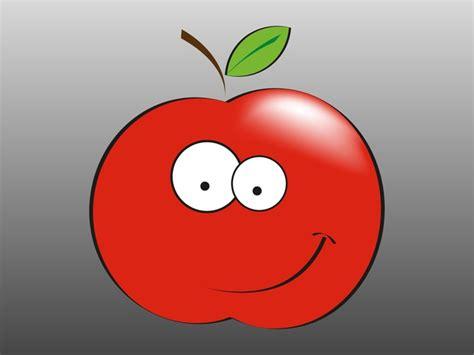 Cartoon Apple Smiling Happy Fruit Vector