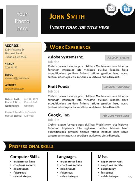 Powerpoint Resume by Black N Orange Curriculum Vitae Template For Powerpoint