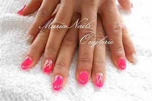 Ongles En Gel Rose : ongles en gel couleur rose fluo et petit doigt en argent paillet blog de onglesengel ~ Melissatoandfro.com Idées de Décoration