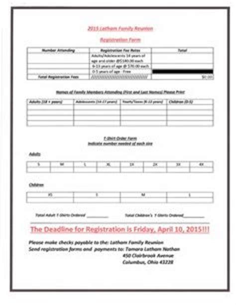 registration form  reunion registration family