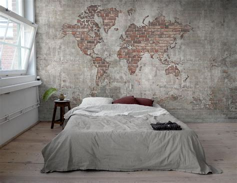 Wandle Industrie Look by Brick Wall World Map Tapet Fr 229 N Mr Perswall Best 228 Ll
