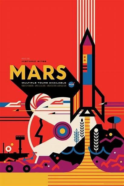 Nasa Posters Space Tourism Mars Jpl Retro