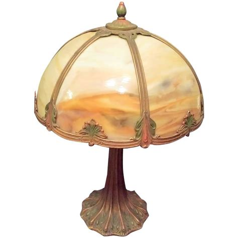 slag glass l shade slag glass table l carmel colored glass with a