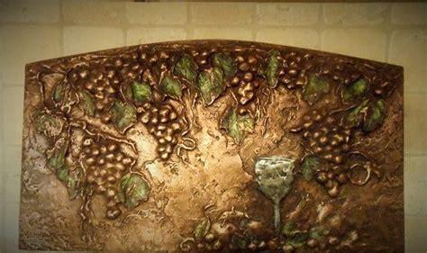 metal kitchen backsplash murals grapes leaves backsplash mural in copper metal tile 7453