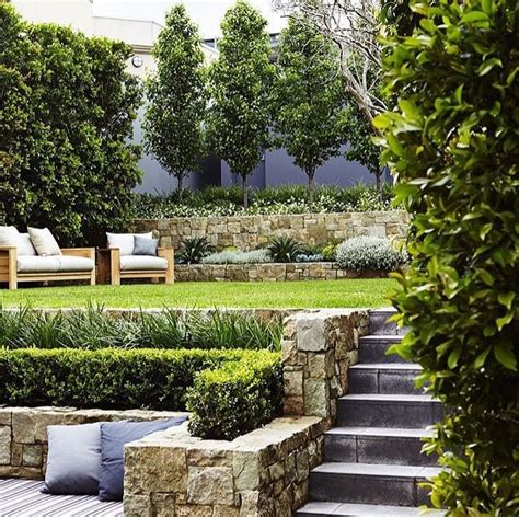 tiered landscape sloped garden small backyard landscaping modern landscaping