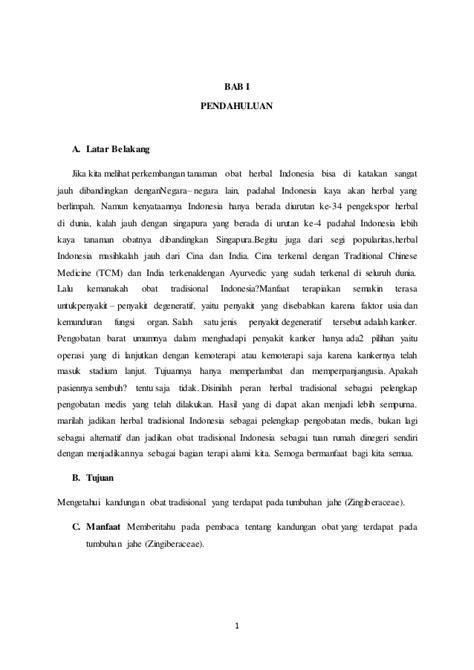makalah obat tradisional jahe asal nusa tenggara timur