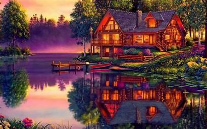 Lake Cabin Desktop Wallpapers Log Backgrounds Boat