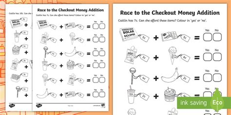 race to the checkout money addition worksheet worksheet roi euro cent