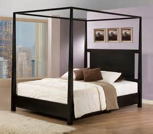 napa queen size black canopy bed contemporary canopy