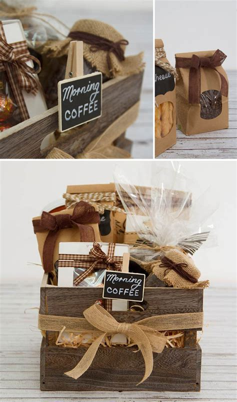diy hamper  coffee lovers wooden crate