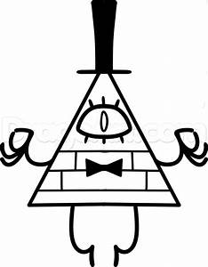 How to Draw Bill Cipher from Gravity Falls, Step by Step, Disney Characters, Cartoons, Draw