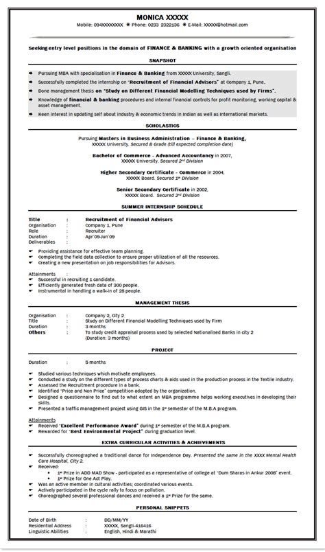 cv format for application for freshers