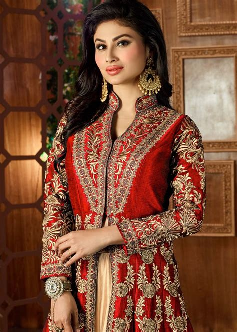 Mouni Roy Embroidered Art Silk Jacket Style Lehenga in Red ...
