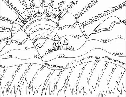 Coloring Pages Doodle Printable Nature Japanese Alley