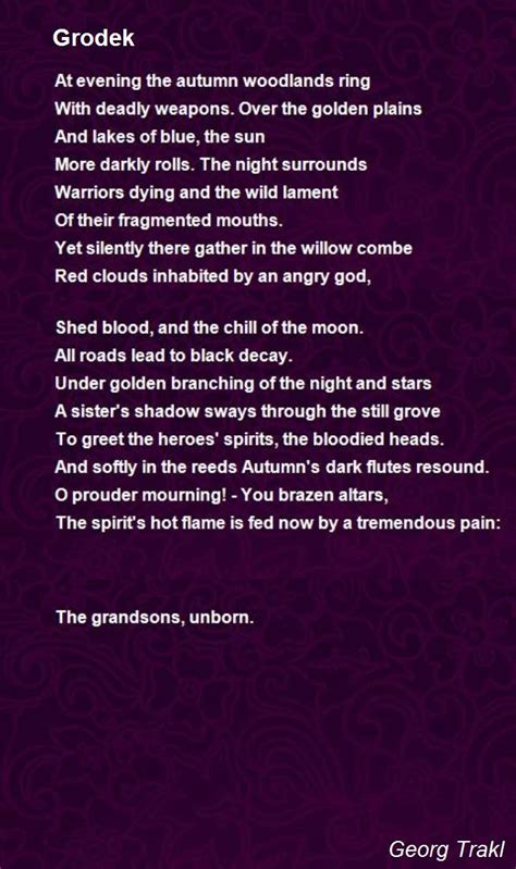 grodek poem  georg trakl poem hunter