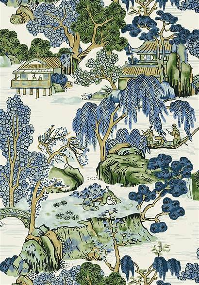 Thibaut Asian Scenic Chinoiserie Dynasty Fabric Wallpapers