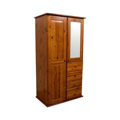 69 Off Wood Armoire With Rack Drawers And Shelves Storage