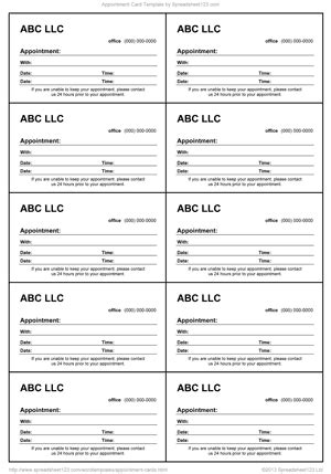 appointment card templates word excel  formats