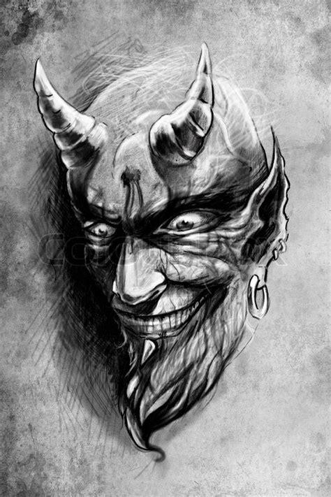Tattoo devil, illustration, handmade | Stock Photo