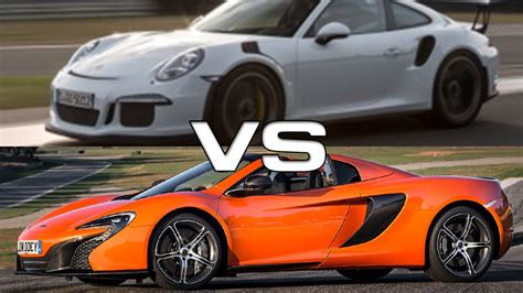 porsche spyder 911 2015 mclaren 650s spyder vs 2016 porsche 911 gt3 rs youtube