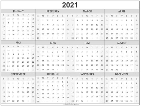 year calendar yearly printable
