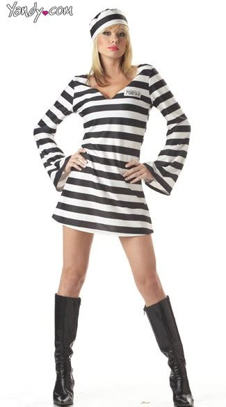Sexy Convict Costume Prison Girl Jail Bird