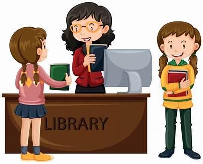Library Books Check Vector Librarian Clip Illustration