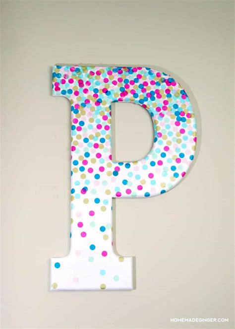 confetti decorative letters  wall decor mod podge rocks