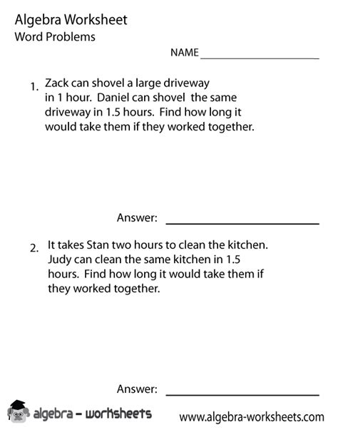 pre algebra word problems worksheet printable