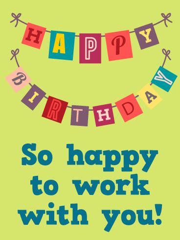 happy birthday flag card   worker birthday