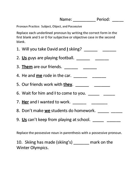 14 best images of pronouns worksheet subject