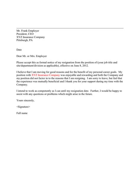 Basic Resignation Letter in Word and Pdf formats