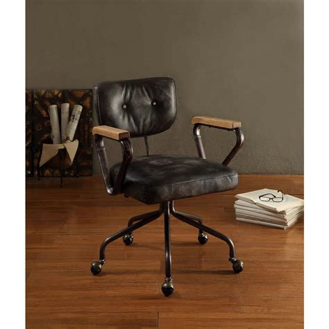 acme furniture hallie top grain leather office chair in