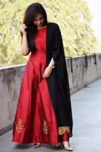 silk red color plain party wear long anarkali suit