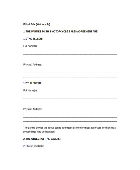 bill  sale form template   word  samples