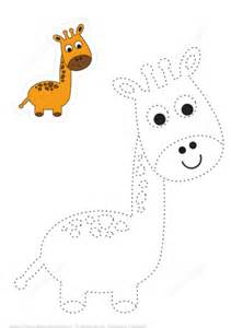 trace  color cute giraffe  printable puzzle games