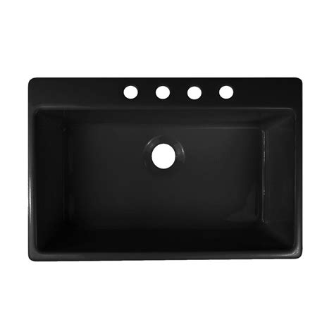 black single bowl kitchen sink lyons industries essence drop in acrylic 33x22x9 in 4 7902