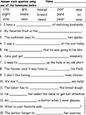 second grade math test printable homonyms enchantedlearning