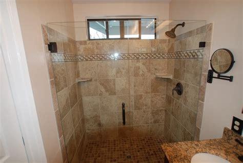 custom mosaic border row frameless shower doors in laguna