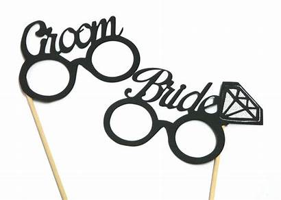 Glasses Props Bride Groom Booth 2pc Parties