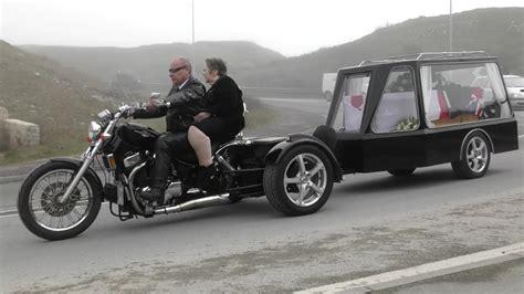 His Last Ride. Popular Biker's Funeral, Barny Barnwell Of