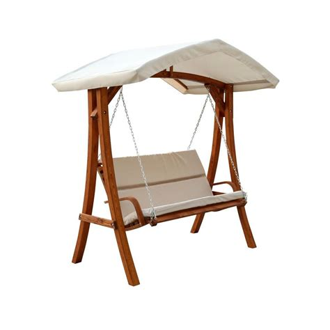Patio Canopy Swing Home Depot by Leisure Season Wooden Patio Swing Seater With Canopy