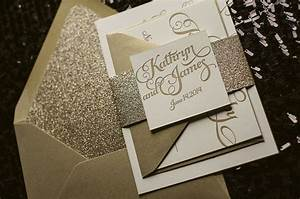 Kathryn suite glitter package letterpress wedding for Inexpensive glitter wedding invitations