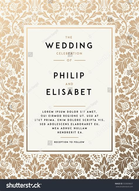 Vintage Wedding Invitation Template Modern Design Stock