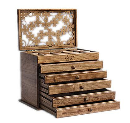 holiday wood storage box ideas clover real wood jewelry box retro style large multilayer