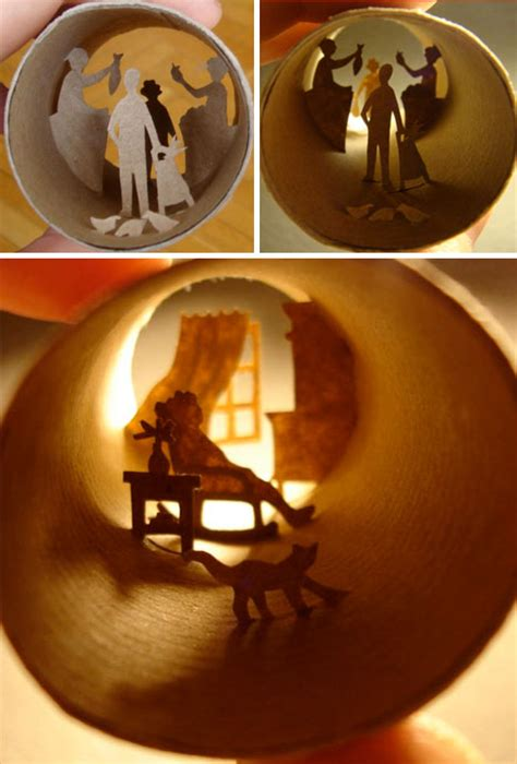 incredible collages crafted   tiny toilet paper