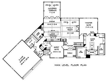 Traditional Style House Plan 58294 with 4 Bed 4 Bath 2