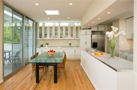 open galley kitchen open galley kitchen and dining area contemporary 1201