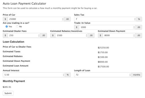 Car Payment Calculator Form Template